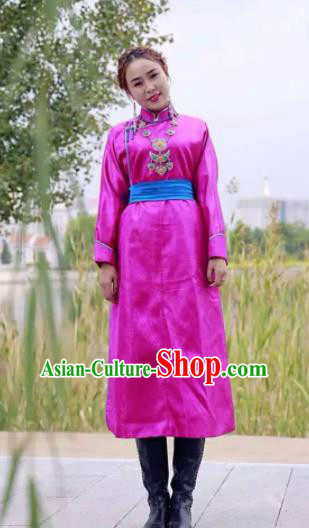 Chinese Mongol Minority Ethnic Costume Traditional Rosy Brocade Mongolian Robe for Women