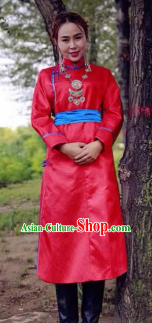 Chinese Mongol Minority Ethnic Costume Traditional Red Brocade Mongolian Robe for Women