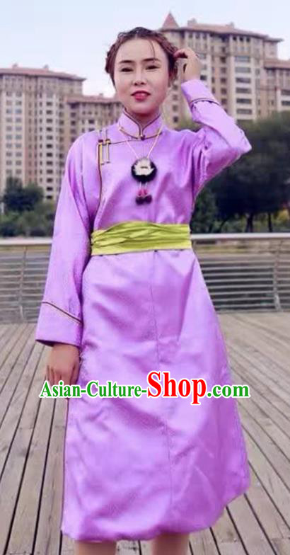 Chinese Mongol Minority Ethnic Costume Traditional Purple Brocade Mongolian Robe for Women