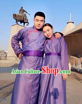 Chinese Mongol Minority Ethnic Costume Traditional Purple Brocade Mongolian Robe for Women for Men