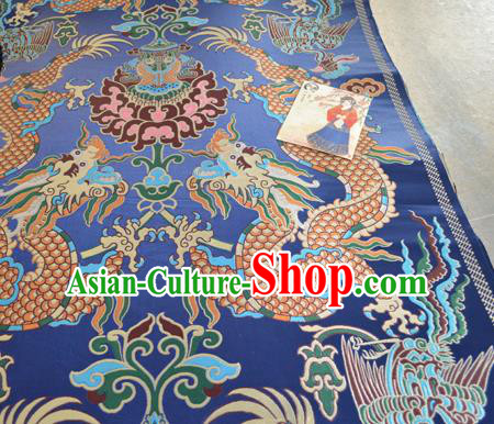 Asian Chinese Traditional Dragons Pattern Design Royalblue Brocade Fabric Silk Fabric Chinese Fabric Material