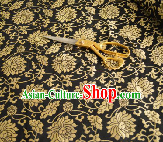 Asian Chinese Traditional Lotus Pattern Design Black Brocade Fabric Silk Fabric Chinese Fabric Material