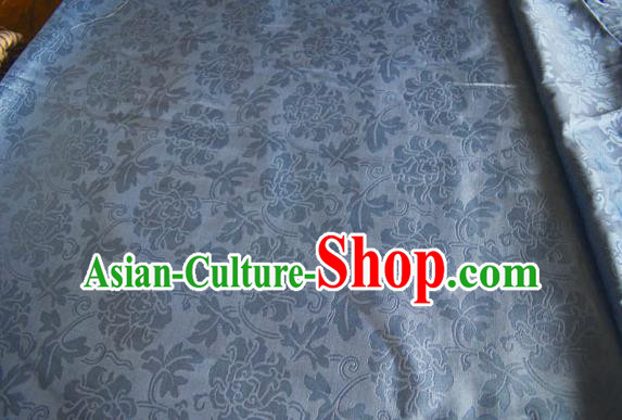 Asian Chinese Traditional Twine Peony Pattern Design Blue Brocade Fabric Silk Fabric Chinese Fabric Material