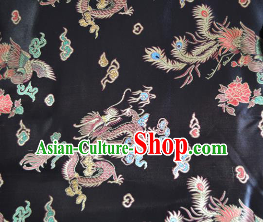 Asian Chinese Traditional Palace Dragon Phoenix Pattern Design Black Brocade Fabric Silk Fabric Chinese Fabric Material
