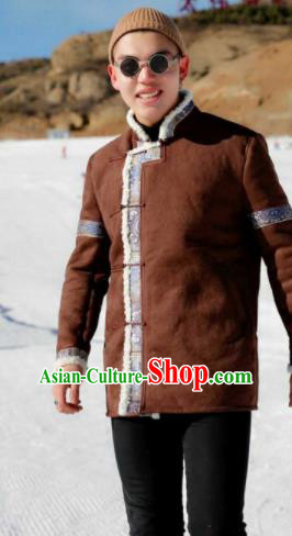 Chinese Traditional Mongol Ethnic Costume Mongolian Minority Nationality Suede Fabric Jacket for Men