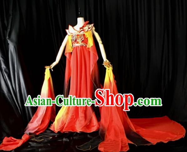 Traditional Chinese Cosplay Costumes Ancient Peri Embroidered Red Hanfu Dress for Women