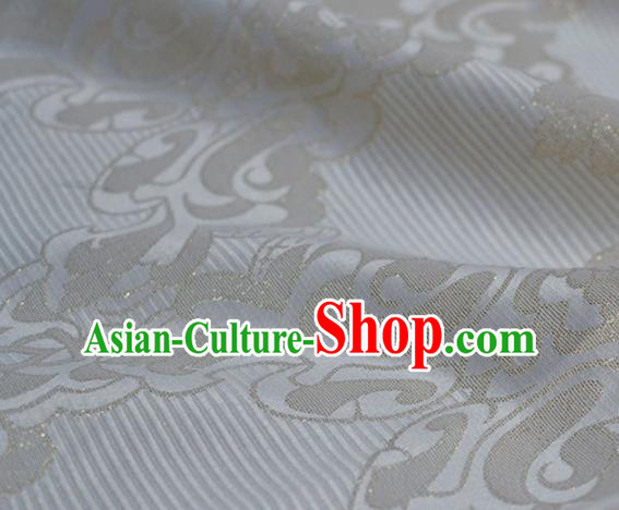 Asian Chinese Traditional Pattern Design White Brocade Fabric Chinese Costume Silk Fabric Material