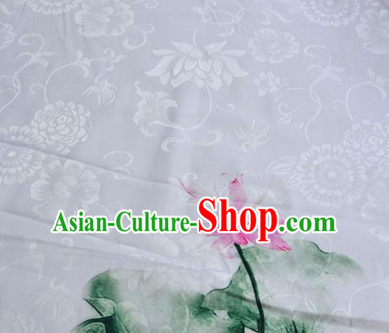 Asian Chinese Traditional Fabric Lotus Pattern Design Brocade Fabric Chinese Costume Silk Fabric Material