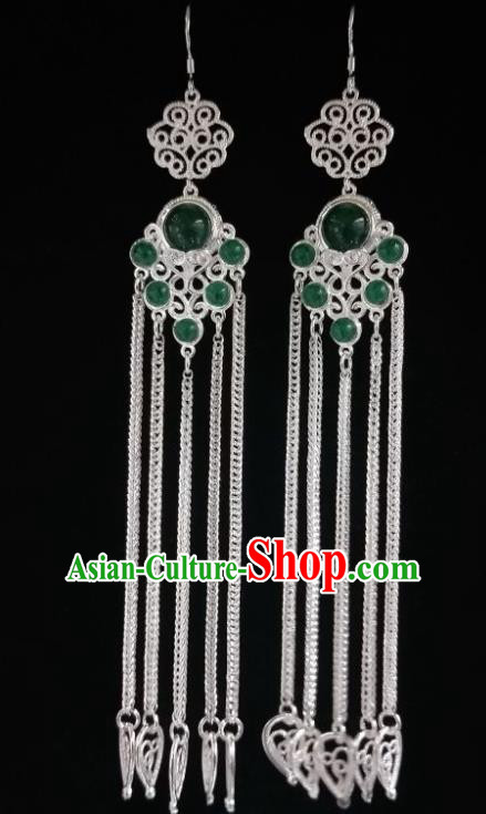 Chinese Ethnic Jewelry Accessories Mongolian Minority Nationality Long Green Earrings for Women