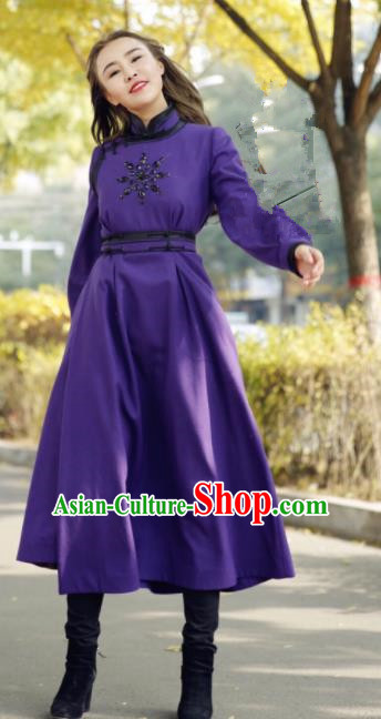 Chinese Traditional Mongol Minority Ethnic Costume Purple Wool Mongolian Robe for Women