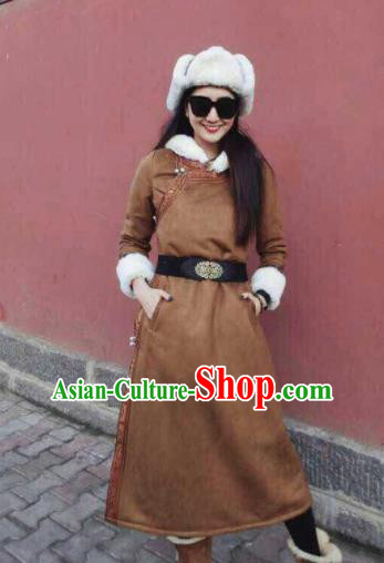Chinese Traditional Mongol Minority Ethnic Costume Brown Suede Fabric Mongolian Dust Coat for Women
