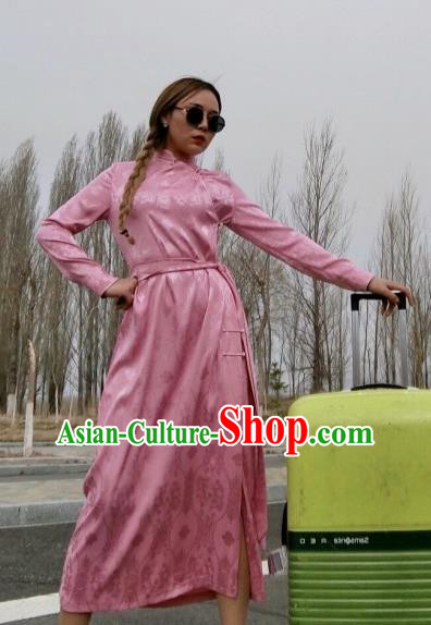 Chinese Traditional Mongol Ethnic Costume Mongolian Minority Nationality Pink Robe for Women