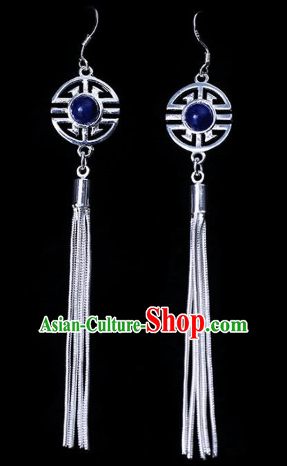 Chinese Traditional Ethnic Jewelry Accessories Eardrop Mongolian Blue Beads Earrings for Women