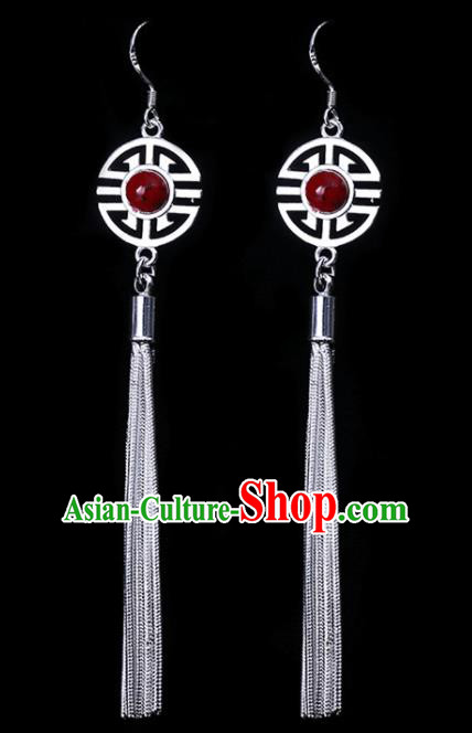 Chinese Traditional Ethnic Jewelry Accessories Eardrop Mongolian Red Beads Earrings for Women