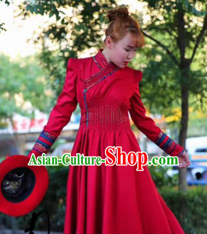 Chinese Traditional Mongol Minority Ethnic Costume Mongolian Red Dust Coat for Women
