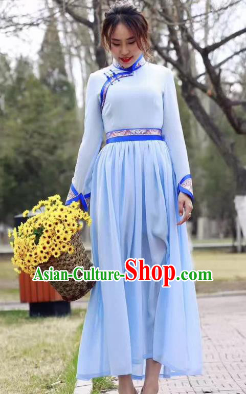 Chinese Mongol Minority Ethnic Costume Traditional Mongolian Blue Dress for Women