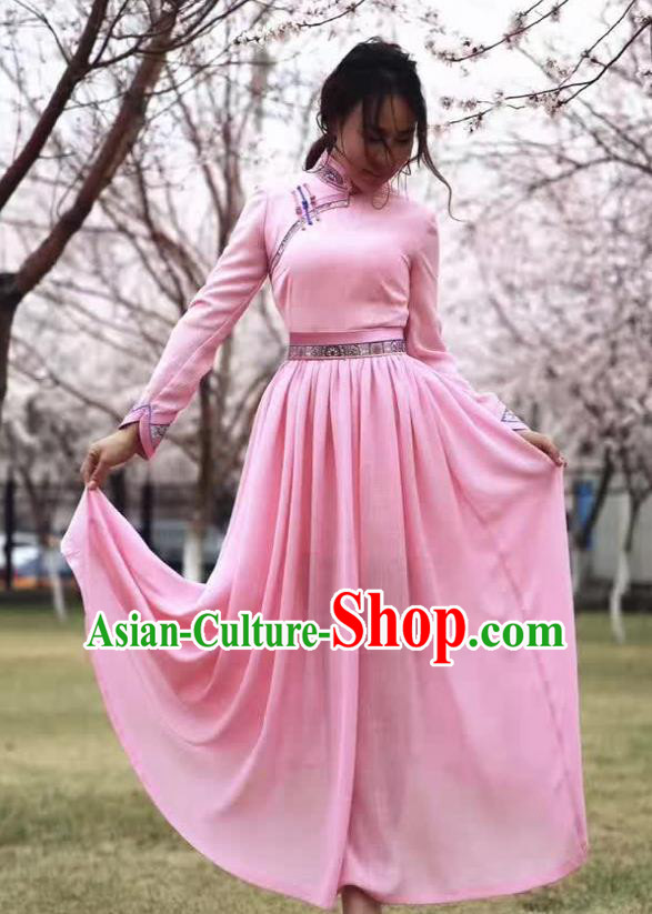 Chinese Mongol Minority Ethnic Costume Traditional Mongolian Pink Dress for Women