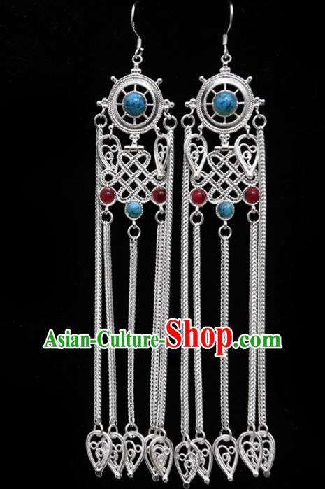Chinese Traditional Ethnic Jewelry Accessories Mongolian Gems Earrings for Women