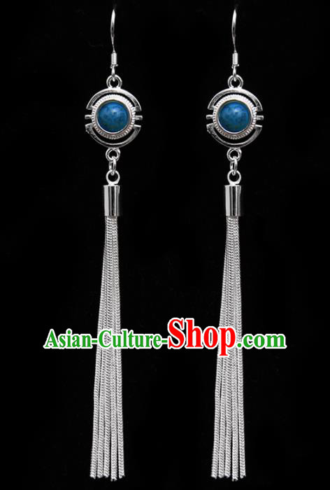 Chinese Traditional Ethnic Tassel Eardrop Jewelry Accessories Mongolian Blue Earrings for Women