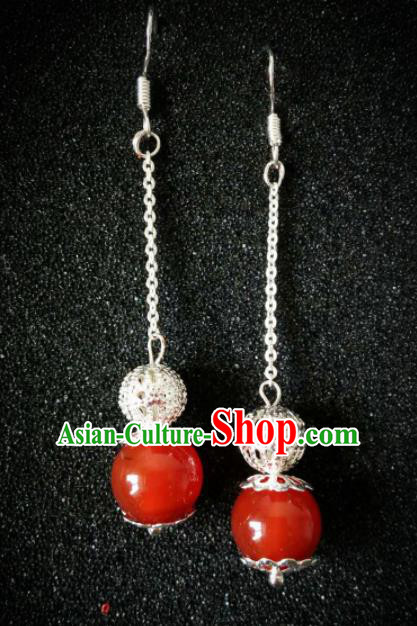 Chinese Traditional Ethnic Eardrop Jewelry Accessories Mongolian Agate Earrings for Women