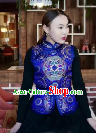 Chinese Mongol Minority Ethnic Costume Traditional Royalblue Brocade Mongolian Vest for Women