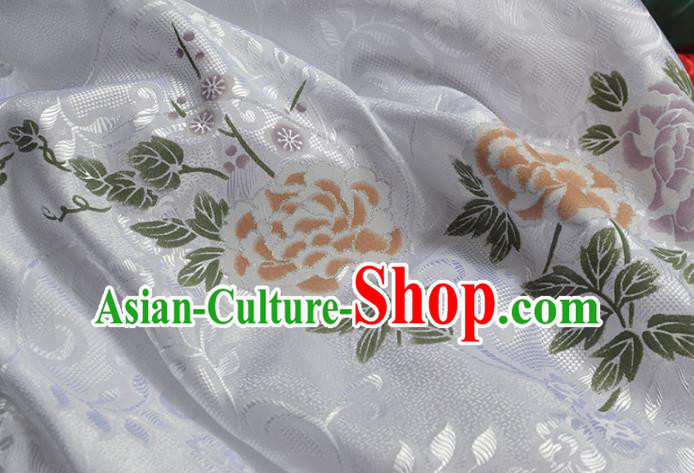 Asian Chinese Fabric Traditional Peony Pattern Design White Brocade Fabric Chinese Costume Silk Fabric Material