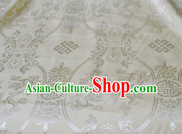 Asian Chinese Fabric Traditional Dragons Pattern Design White Brocade Fabric Chinese Costume Silk Fabric Material