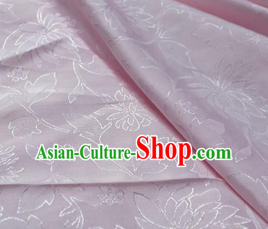 Asian Chinese Fabric Traditional Lotus Pattern Design Pink Brocade Fabric Chinese Costume Silk Fabric Material
