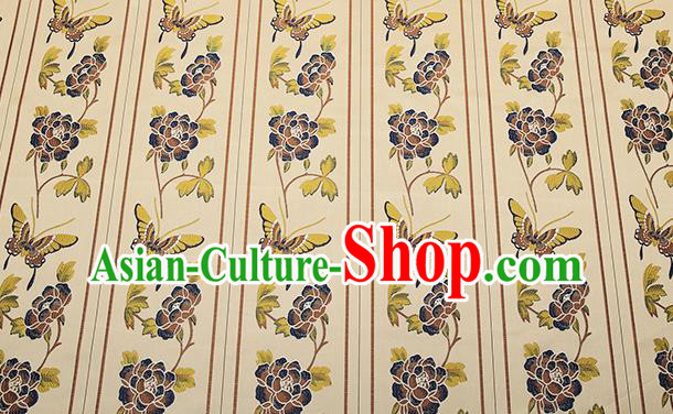 Asian Chinese Brocade Fabric Traditional Purple Butterfly Pattern Design Satin Cushion Silk Fabric Material