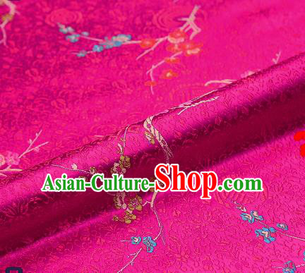 Asian Chinese Rosy Brocade Fabric Traditional Plum Blossom Pattern Design Satin Tang Suit Silk Fabric Material