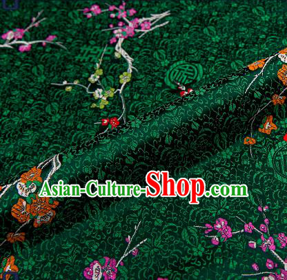 Asian Chinese Atrovirens Brocade Fabric Traditional Plum Blossom Pattern Design Satin Tang Suit Silk Fabric Material