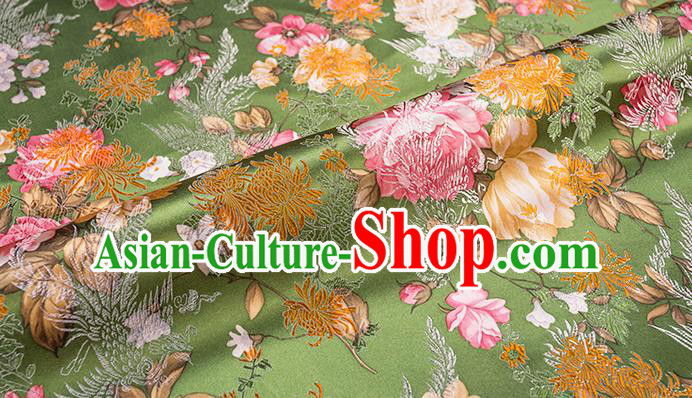 Asian Chinese Green Brocade Fabric Traditional Chrysanthemum Pattern Design Satin Pillow Silk Fabric Material