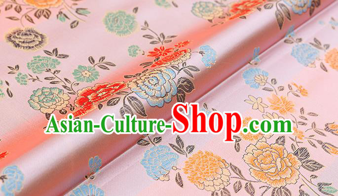 Asian Chinese Pink Brocade Fabric Traditional Peony Pattern Design Satin Qipao Dress Silk Fabric Material