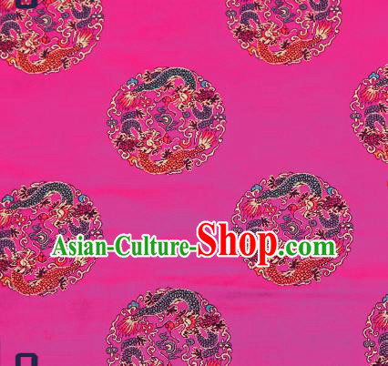 Traditional Chinese Rosy Brocade Fabric Asian Dragons Pattern Design Satin Cushion Silk Fabric Material