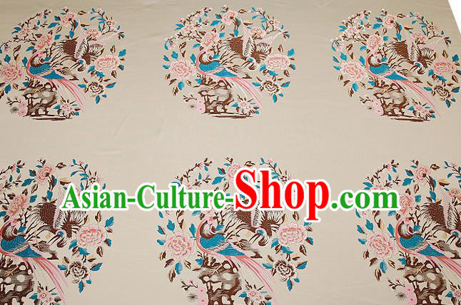 Chinese Traditional Beige Brocade Fabric Asian Birds Peony Pattern Design Satin Cushion Silk Fabric Material