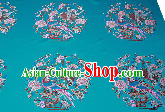 Chinese Traditional Blue Brocade Fabric Asian Birds Peony Pattern Design Satin Cushion Silk Fabric Material