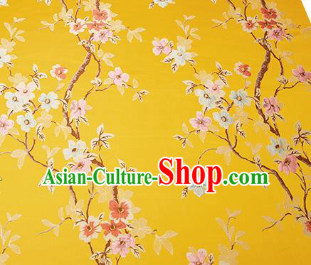 Chinese Traditional Yellow Brocade Fabric Asian Pattern Design Satin Cushion Silk Fabric Material