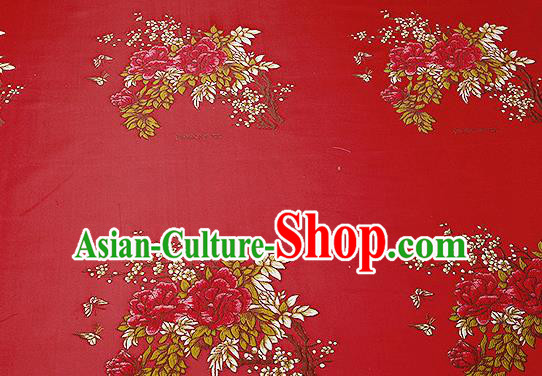 Chinese Traditional Red Brocade Fabric Asian Embroidery Peony Pattern Design Satin Cushion Silk Fabric Material