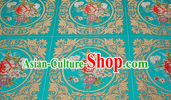 Chinese Traditional Green Brocade Fabric Asian Embroidery Peony Pattern Design Satin Cushion Silk Fabric Material