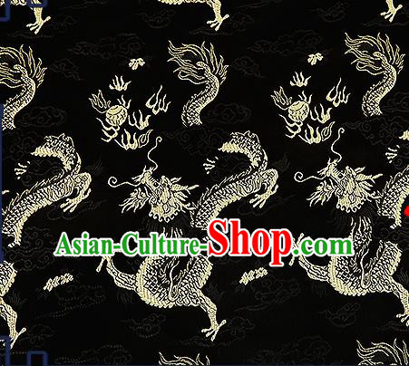 Chinese Traditional Black Brocade Fabric Asian Dragons Pattern Design Satin Tang Suit Silk Fabric Material