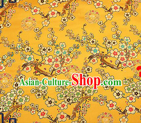 Chinese Traditional Golden Brocade Fabric Classical Plum Blossom Pattern Design Satin Tang Suit Silk Fabric Material