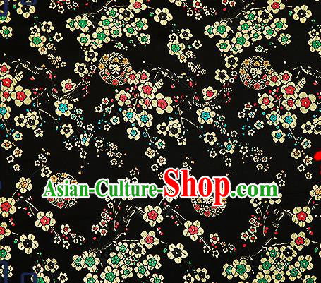 Chinese Traditional Black Brocade Fabric Classical Plum Blossom Pattern Design Satin Tang Suit Silk Fabric Material