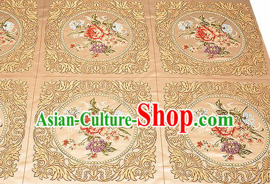 Chinese Traditional Golden Brocade Fabric Asian Embroidery Peony Pattern Design Satin Cushion Silk Fabric Material