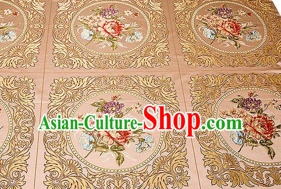 Chinese Traditional Khaki Brocade Fabric Asian Embroidery Peony Pattern Design Satin Cushion Silk Fabric Material