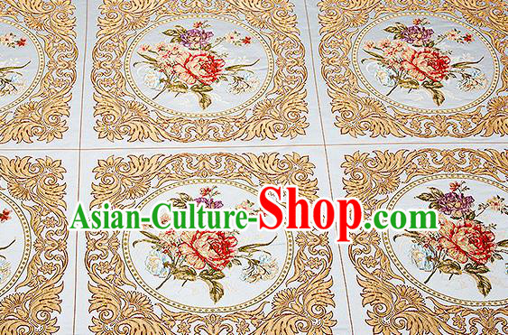 Chinese Traditional Blue Brocade Fabric Asian Embroidery Peony Pattern Design Satin Cushion Silk Fabric Material
