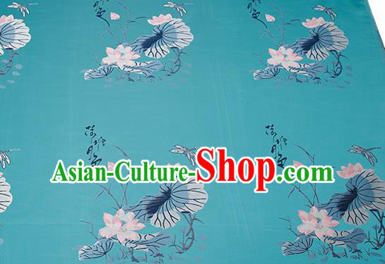 Chinese Traditional Green Brocade Fabric Asian Embroidery Lotus Pattern Design Satin Cushion Silk Fabric Material