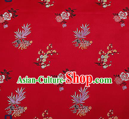 Chinese Traditional Wine Red Brocade Fabric Classical Plum Blossom Orchid Bamboo Chrysanthemum Pattern Design Satin Tang Suit Silk Fabric Material