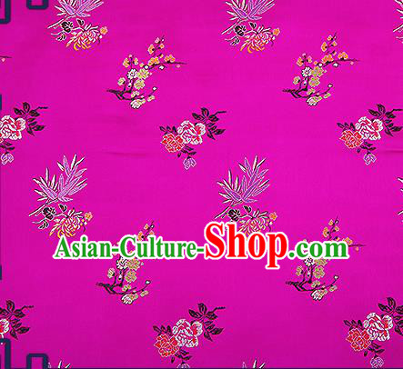 Chinese Traditional Rosy Brocade Fabric Classical Plum Blossom Orchid Bamboo Chrysanthemum Pattern Design Satin Tang Suit Silk Fabric Material