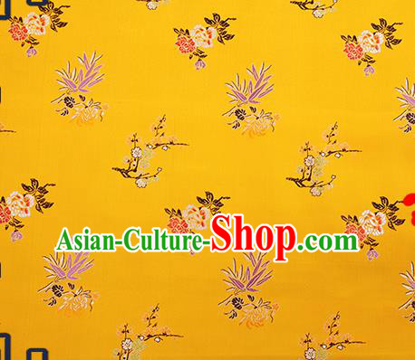 Chinese Traditional Yellow Brocade Fabric Classical Plum Blossom Orchid Bamboo Chrysanthemum Pattern Design Satin Tang Suit Silk Fabric Material