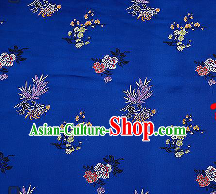 Chinese Traditional Navy Brocade Fabric Classical Plum Blossom Orchid Bamboo Chrysanthemum Pattern Design Satin Tang Suit Silk Fabric Material